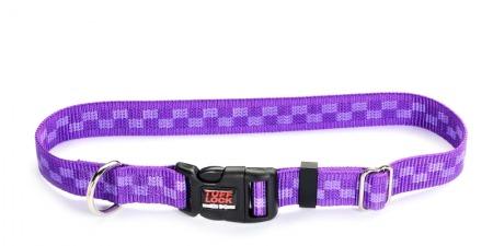 Plastic Buckle Dog Collar - Checker Violet